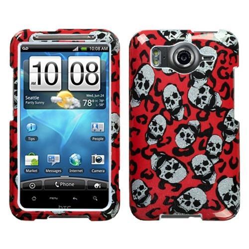 Insten Leopard Skulls Hard Glitter Case For HTC Inspire 4G, Red/Silver