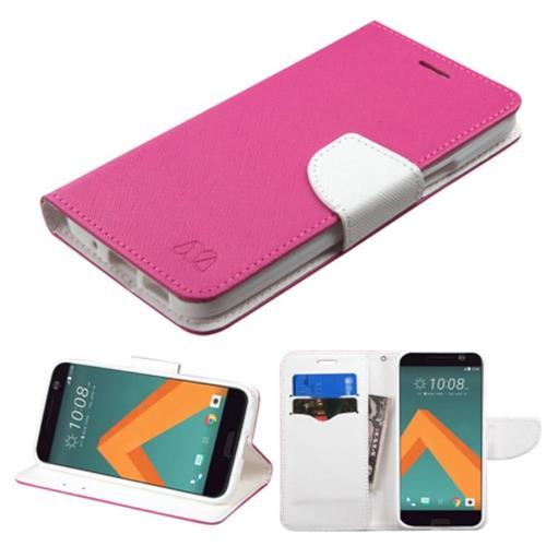 Insten Flip Leather Fabric Cover Case w/stand/card slot For HTC One M10, Hot Pink/White