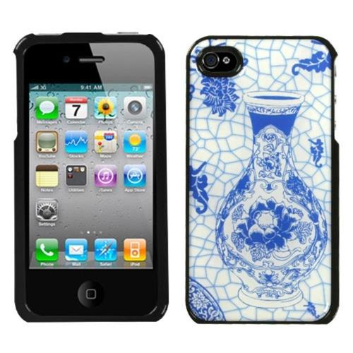 Insten Porcelain Bottle Hard Case For Apple iPhone 4/4S, Blue/Black