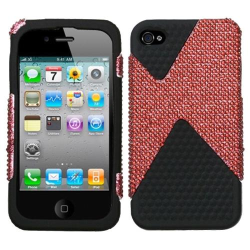 Insten Dual Hard Hybrid Rhinestone TPU Cover Case For Apple iPhone 4/4S, Red/Black