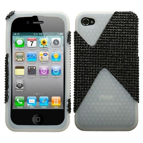 Insten Dual Hard Layer Diamond TPU Case For Apple iPhone 4/4S, Black/White