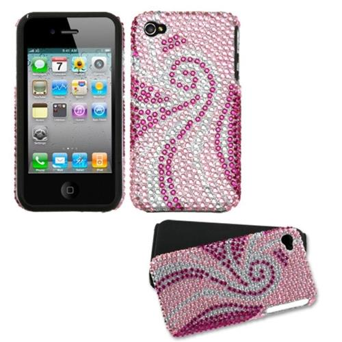 Insten Fitted Hard Shell Case for iPhone 4 / 4S - Pink/Hot Pink