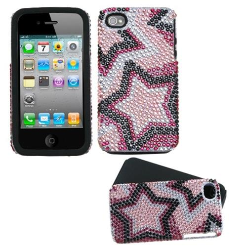 Insten Twin Stars Hard Diamante Case For Apple iPhone 4/4S, Pink/Black