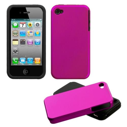 Insten Fusion Aluminum Dual Layer Silicone Case For Apple iPhone 4/4S, Hot Pink/Black