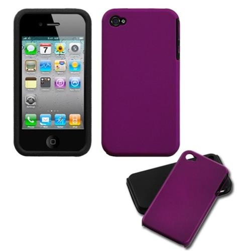 Insten Fusion Hard Hybrid Silicone Cover Case For Apple iPhone 4/4S, Purple