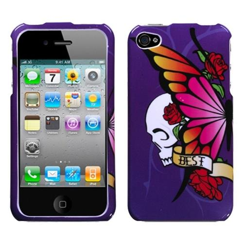 Insten Butterfly/Skull Hard Case For Apple iPhone 4/4S, Purple