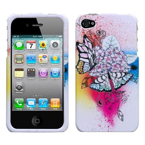 Insten Butterfly Hard Cover Case For Apple iPhone 4/4S, Colorful/White