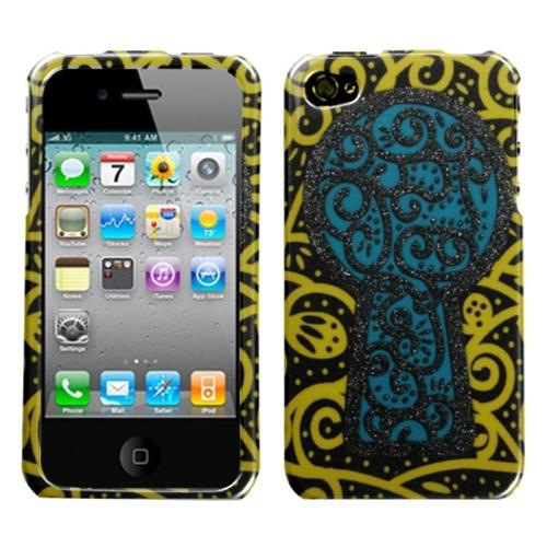 Insten Key Hole Hard Glitter Cover Case For Apple iPhone 4/4S, Blue/Yellow