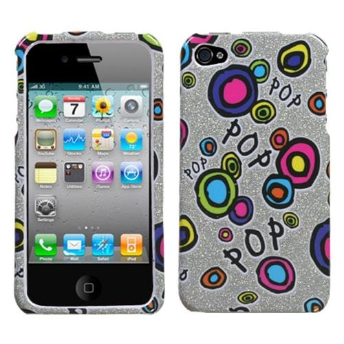 Insten Pop Candy Sparkle Hard Glitter Case For Apple iPhone 4/4S, Colorful/Silver
