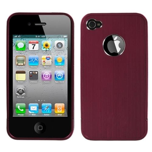 Insten Aluminum Metallic Cover Case For Apple iPhone 4/4S, Red
