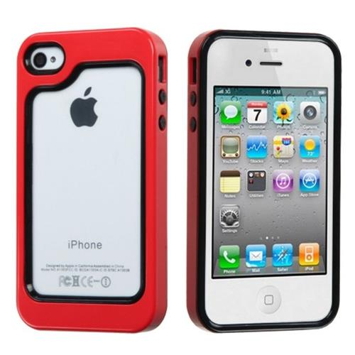 Insten Hard Silicone Bumper For Apple iPhone 4/4S, Red/Black