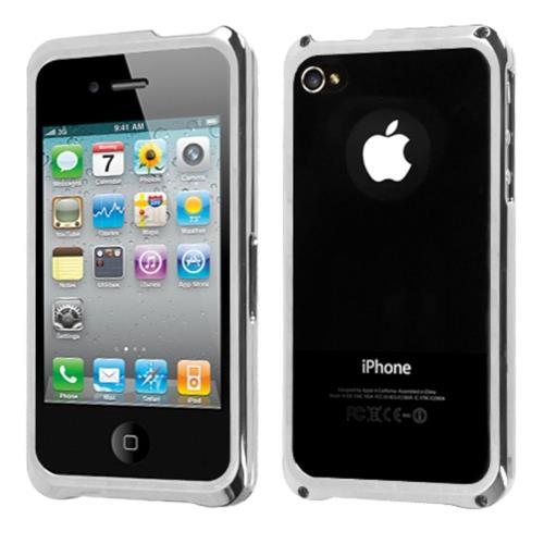 Insten Aluminum Metallic Bumper For Apple iPhone 4/4S, Silver