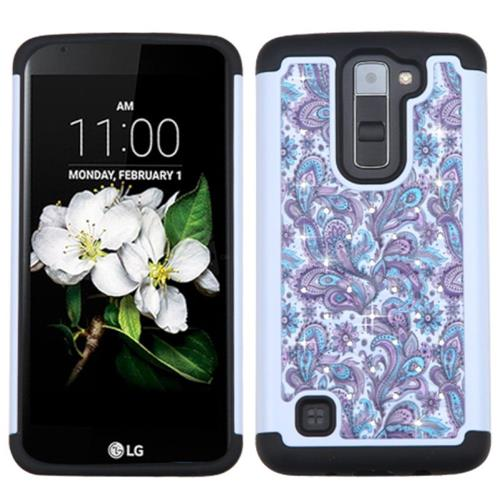 Insten European Flowers Hard Dual Layer Silicone Case w/Diamond For LG K7/K8, Purple/White
