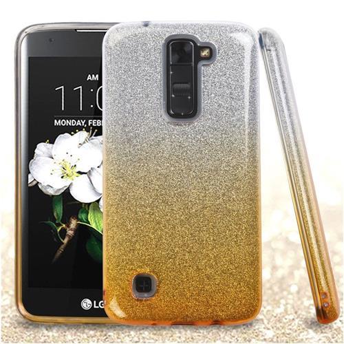 Insten Hard Hybrid Glitter TPU Case For LG Escape 3/K7/K8/Treasure LTE, Gold/White