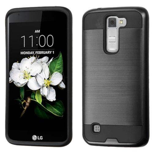 Insten Hard Dual Layer Rubberized Silicone Cover Case For LG K7, Black