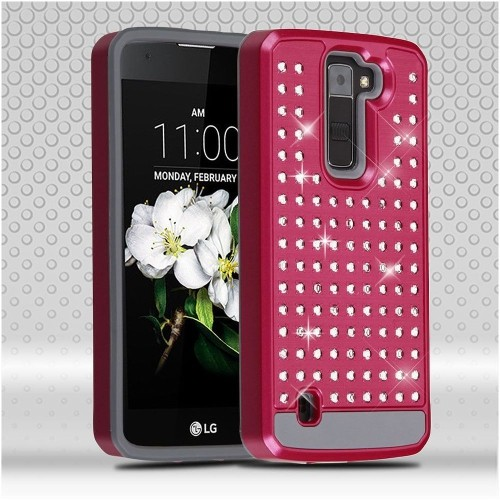 Insten Hard Hybrid Bling Silicone Case For LG Escape 3/K7/Treasure LTE, Hot Pink/Gray