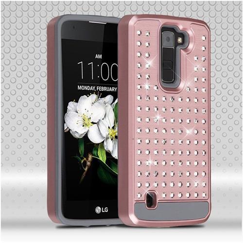 Insten Hard Hybrid Diamante Silicone Cover Case For LG Escape 3/K7/Treasure LTE, Rose Gold/Gray