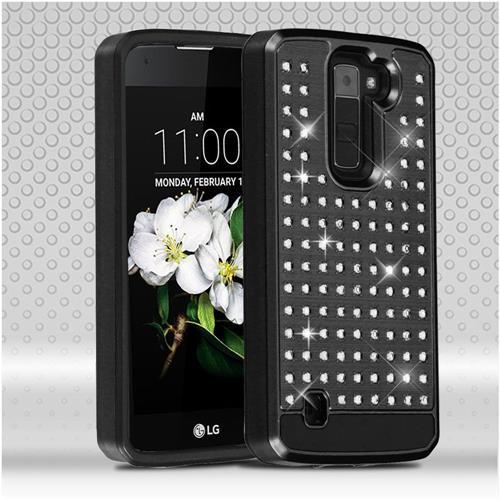 Insten Hard Dual Layer Rhinestone Silicone Case For LG Escape 3/K7/Treasure LTE, Black