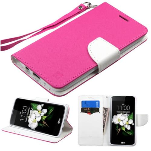 Insten Folio Leather Fabric Cover Case Lanyard w/stand/card slot For LG K7/K8, Hot Pink/White