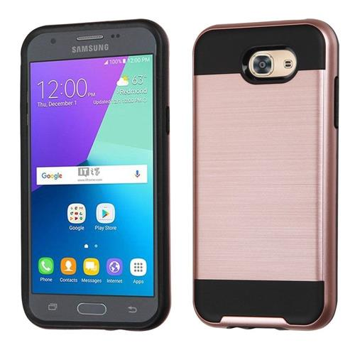 Insten Hard Hybrid TPU Cover Case For Samsung Galaxy J3(2017), Rose Gold/Black