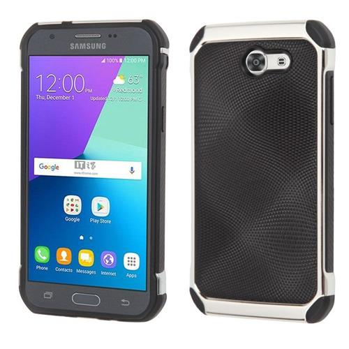 Insten Hard Dual Layer TPU Cover Case For Samsung Galaxy J3(2017), Black/Silver