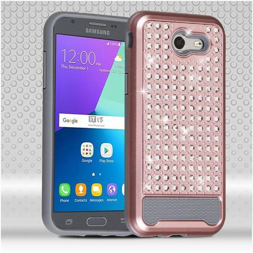 Insten Hard Hybrid Diamond Silicone Cover Case For Samsung Galaxy J3(2017), Rose Gold/Gray