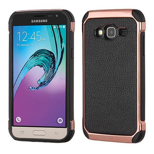 Insten Hard TPU Case For Samsung Galaxy Amp Prime/Express Prime /J3(2016)/Sol, Black/Rose Gold