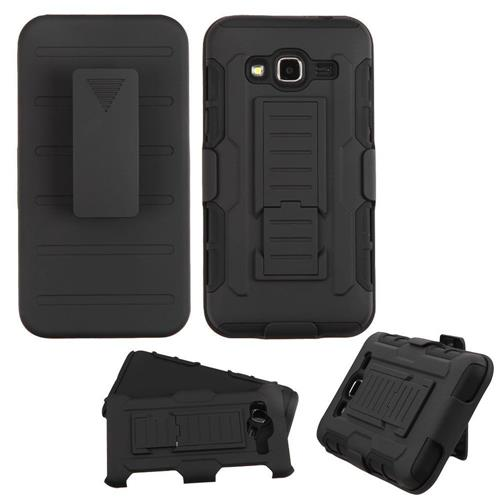 Insten Hard Silicone Case w/Holster For Samsung Galaxy Amp Prime/Express Prime /Sky/Sol, Black