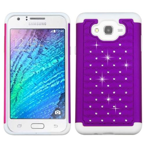 Insten Hard Hybrid Rubber Coated Silicone Case w/Diamond For Samsung Galaxy J7(2015), Purple/White