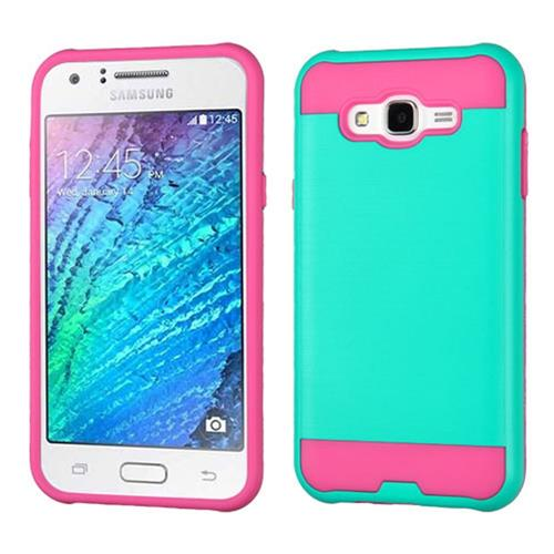 Insten Hard Hybrid TPU Case For Samsung Galaxy J7(2015), Teal/Pink