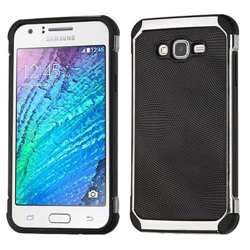 Insten Hard Hybrid TPU Case For Samsung Galaxy J7(2015), Black/Silver