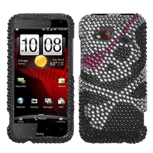 Insten Skull Hard Diamond Case For HTC Droid Incredible (LTE version), Black/Silver