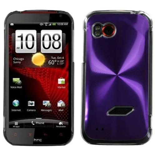 Insten Cosmo Aluminum Metallic Hard Case For HTC Rezound / Vigor, Purple/Clear
