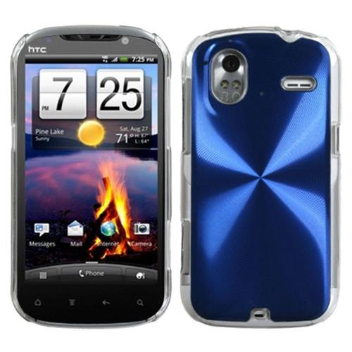 Insten Cosmo Aluminum Metallic Case For HTC Amaze 4G, Blue/Clear
