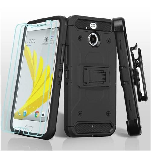 Insten Hard Dual Layer TPU Case w/Holster For HTC Bolt, Black