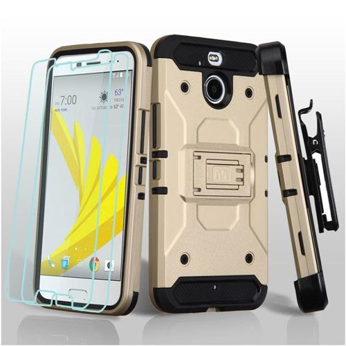 Insten Hard Hybrid TPU Case w/Holster For HTC Bolt, Gold/Black