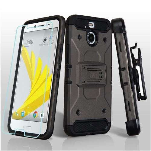 Insten Hard Dual Layer TPU Case w/Holster For HTC Bolt, Gray/Black