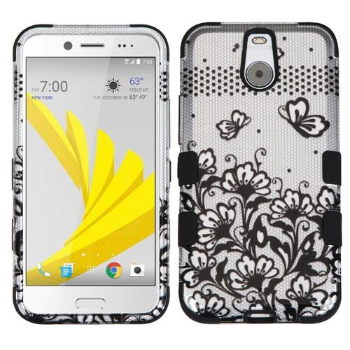Insten Tuff Lace Flowers Hard Dual Layer Rubber Coated Silicone Case For HTC Bolt, Black/White