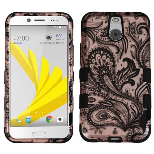 Insten Tuff Phoenix Flower Hard Hybrid Rubberized Silicone Cover Case For HTC Bolt, Rose Gold/Black