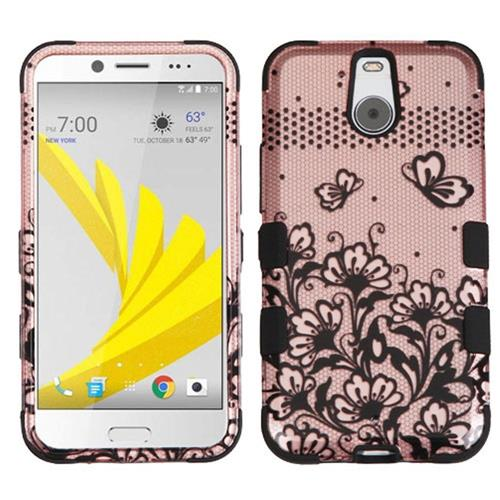 Insten Tuff Lace Flowers Hard Hybrid Silicone Cover Case For HTC Bolt, Rose Gold/Black