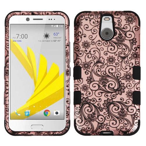Insten Tuff Four-leaf Clover Hard Hybrid Rubber Silicone Case For HTC Bolt, Rose Gold/Black