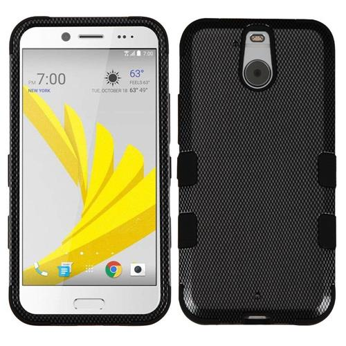 Insten Tuff Carbon Fiber Hard Hybrid Rubber Silicone Case For HTC Bolt, Black