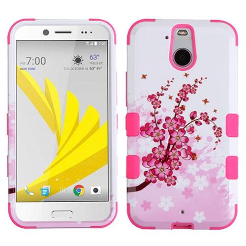 Insten Tuff Spring Flowers Hard Dual Layer Rubber Coated Silicone Case For HTC Bolt, Pink/White