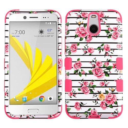 Insten Tuff Fresh Roses Hard Hybrid Rubber Silicone Case For HTC Bolt, Pink/White