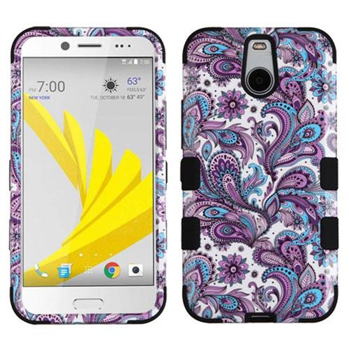 Insten Tuff European Flowers Hard Dual Layer Silicone Cover Case For HTC Bolt, Purple/White
