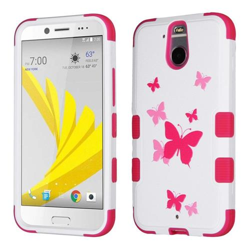 Insten Tuff Butterfly Dancing Hard Hybrid Silicone Case For HTC Bolt, Pink/White