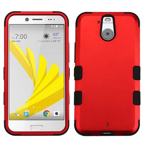 Insten Tuff Hard Dual Layer Rubber Coated Silicone Case For HTC Bolt, Red/Black