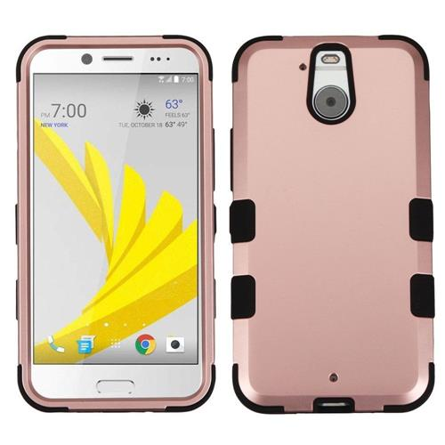 Insten Tuff Hard Hybrid Rubberized Silicone Cover Case For HTC Bolt, Rose Gold/Black