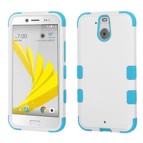 Insten Hard Dual Layer Silicone Case For HTC Bolt, White/Blue
