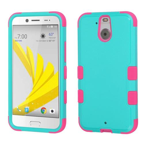 Insten Hard Hybrid Rubber Coated Silicone Cover Case For HTC Bolt, Teal/Hot Pink